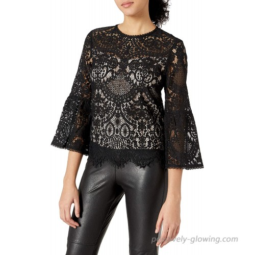 cupcakes and cashmere Women's Geneva Lace Trumpet Sleeve Top at  Women's Clothing store