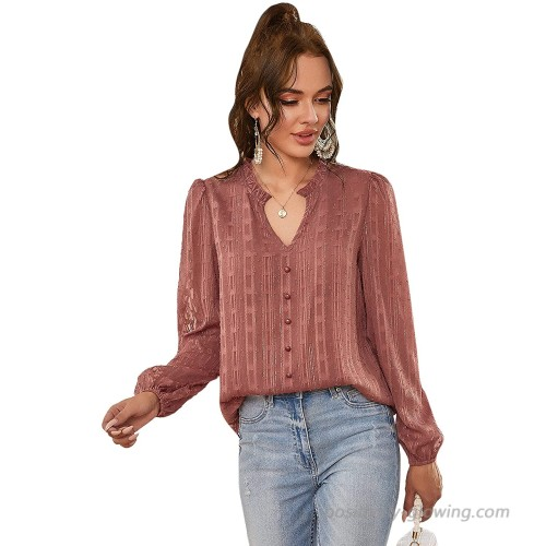 Floerns Women's Casual Notched Neck Long Sleeve Button Front Chiffon Blouse Tops at  Women's Clothing store