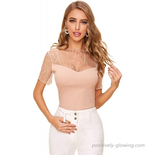 Floerns Women's Contrast Mesh Sheer Mock Neck Short Sleeve Rib Knit Blouse Tops at  Women's Clothing store