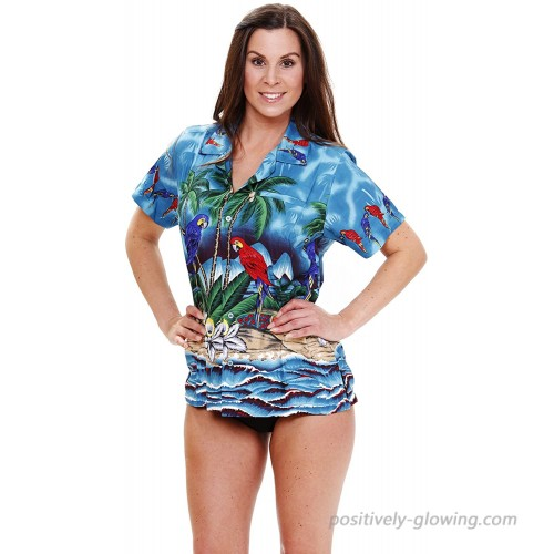 V.H.O. Funky Hawaiian Blouse Women Short-Sleeve Front-Pocket Surf Parrot Multiple Colors at  Women's Clothing store