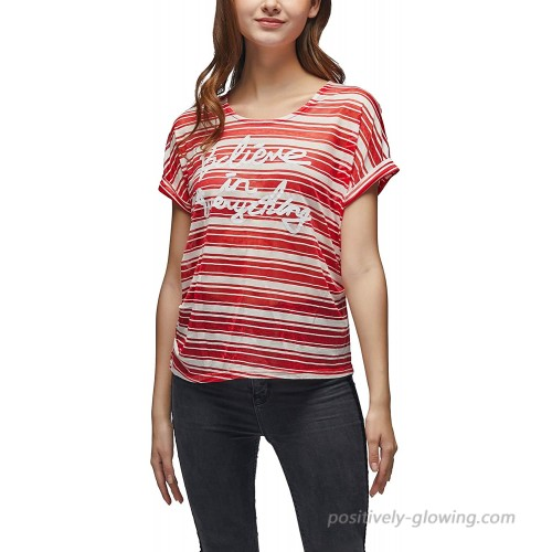 VZULY Women's Short Sleeve Crewneck Top Shirts Loose Casual Striped T-Shirts S Red at  Women's Clothing store
