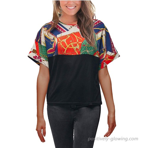 VZULY Women's Short Sleeve T Shirt Printed Splice Tops Casual Loose Blouses at  Women's Clothing store