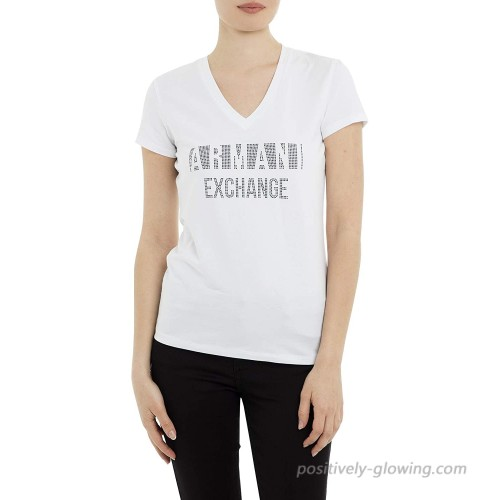 AX Armani Exchange Women's Classic Fitted V-Neck Tee with Negative Space Logo Shirt at  Women's Clothing store