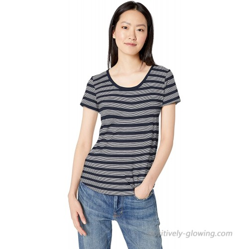 Brand - Daily Ritual Women's Lived-in Cotton Slub Short-Sleeve Scoop Neck T-Shirt Navy Stripe Small
