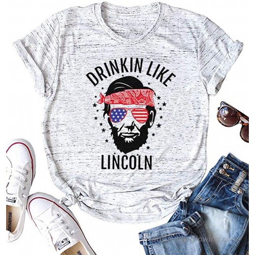 Day Drinkin Like Lincoln Graphic Cute T-Shirts Women's Short Sleeve Tee Top Casual at  Women's Clothing store