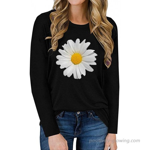 Jeemery Women's Long Sleeve Daisy Printed Graphic Tees Cute Funny Crewneck Casual Loose Fit Tunic Tee Tops Shirts at  Women's Clothing store