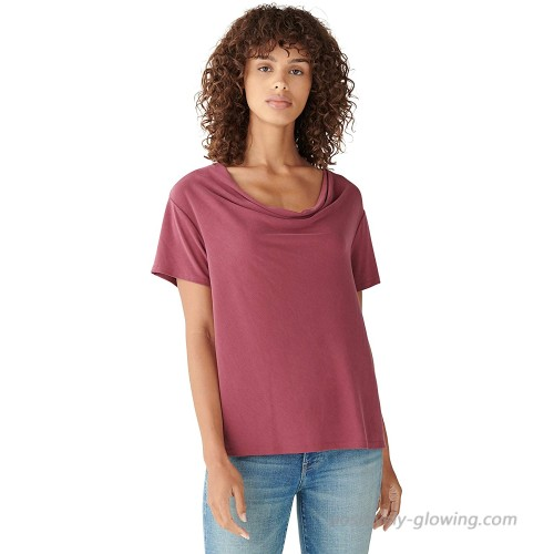 Lucky Brand Women's Short Sleeve Cowl Neck Sandwash Top at Women's Clothing store