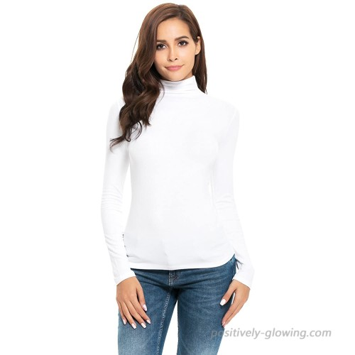 Mock Turtleneck for Women Long Sleeve Basic Stretchy Layering Slim Fit T Shirt Tops at  Women's Clothing store