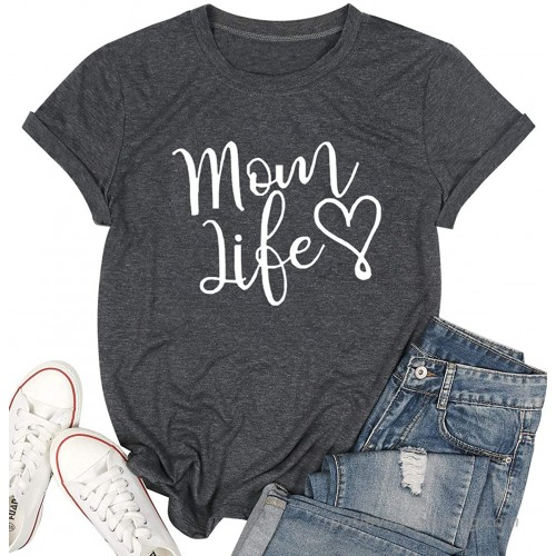 Mom Life Shirt Women Cute Heart Graphic Mom Tshirt with Sayings Letter Print Short Sleeve Tee Shirts at Women's Clothing store