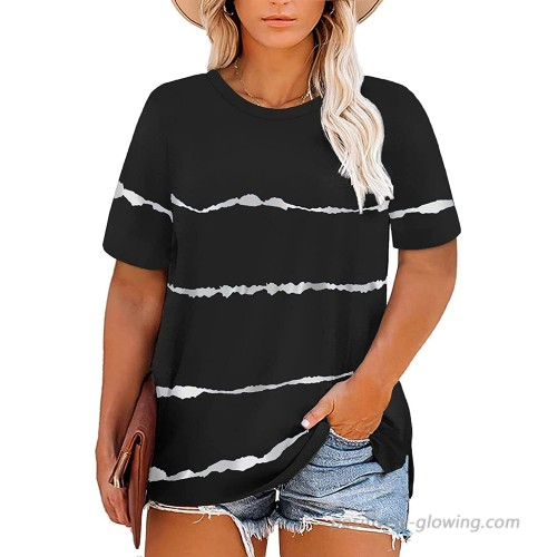 Plus Size Tops for Women 4X Summer Casual Striped Shirts Black 26W at  Women's Clothing store
