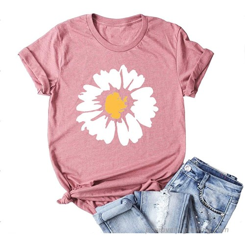 VINJAN Women's Cute Daisy Graphic Print Tee Round Neck Casual T-Shirt Inspired Blouse Tops at Women's Clothing store