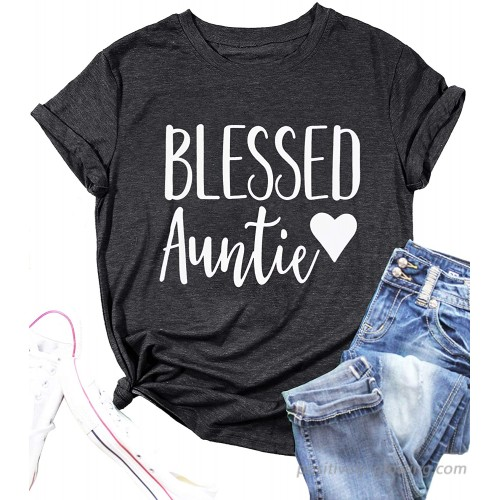 Women Blessed Auntie T-Shirt Aunt Vibes Shirt Cute Aunt Gifts Tee Shirt Letter Printed Short Sleeve Casual Shirt Blouse at  Women's Clothing store
