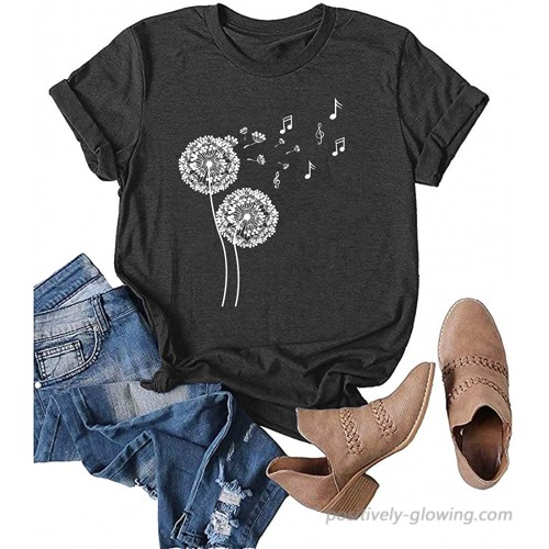 Women Make A Wish Dandelion Graphic T Shirt Cute Casual Sunflower Short Sleeve Tee Top at Women's Clothing store