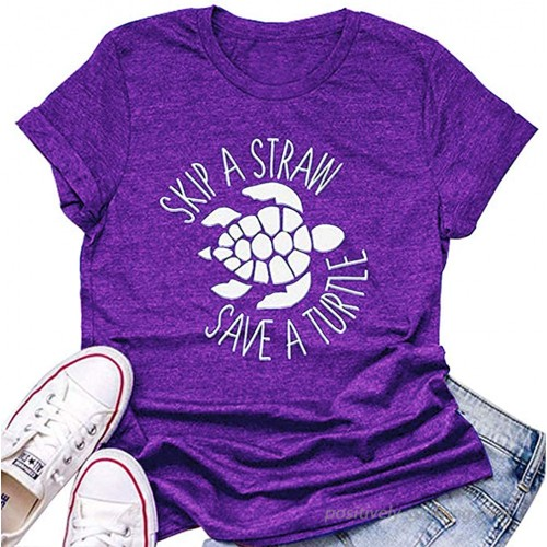 Women Turtle T Shirt Short Sleeve Funny Letter Ocean Environmental Awareness Lovers Graphic Print Tees at  Women's Clothing store
