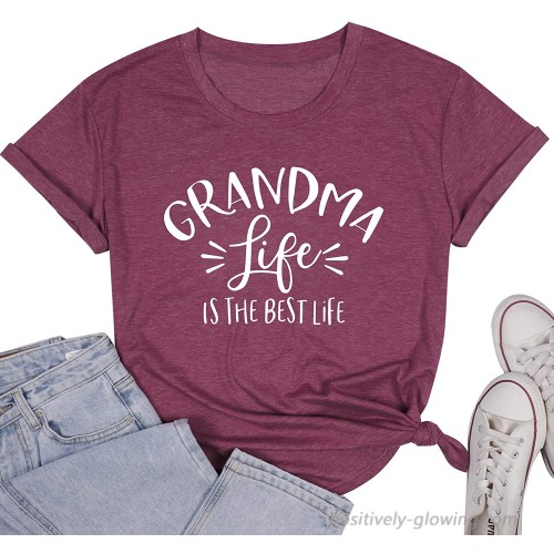 Womens Grandma Life is The Best Life T Shirt Funny Letter Print Blessed Nana Gift Shirts Short Sleeve Tops Tee at  Women's Clothing store