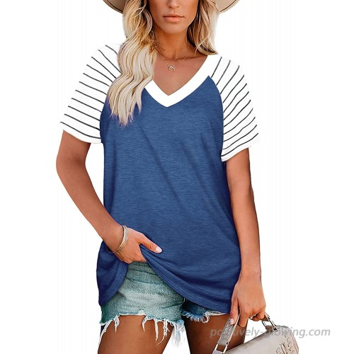 Womens Short Sleeve V Neck T Shirts Striped Raglan Tee Shirts Loose Fit Casual Tops Blue at  Women's Clothing store