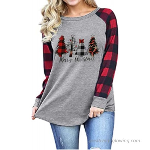 YI GE Womens Long Sleeve Tops Funny Christmas Stripe O-Neck Splicing Blouse T-Shirt at Women's Clothing store