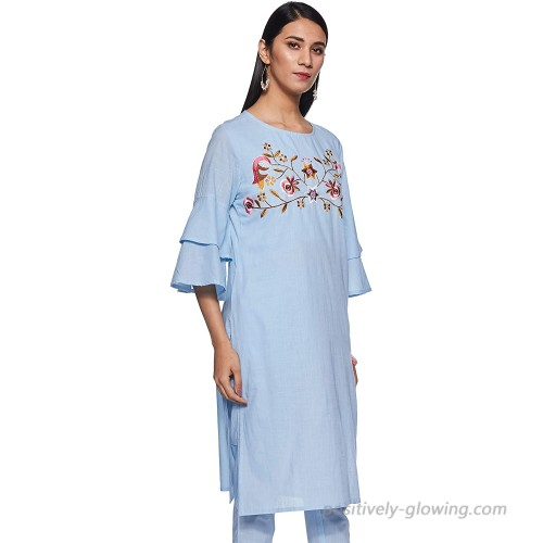 CELESTIA DESIGNS Indian Tunic Tops Women's Cotton Blend Solid Embroidered Straight Kurta Pant Set Sky Blue at  Women's Clothing store