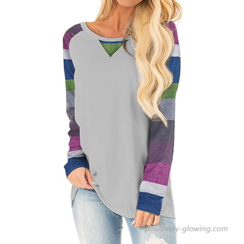 DEMO SHOW Women's Long Sleeve Shirts Casual Color Block Sleeve Pullover T Shirt Loose Sweatshirts Tunic Tops Tee A-Stripes Light Gray S at  Women's Clothing store