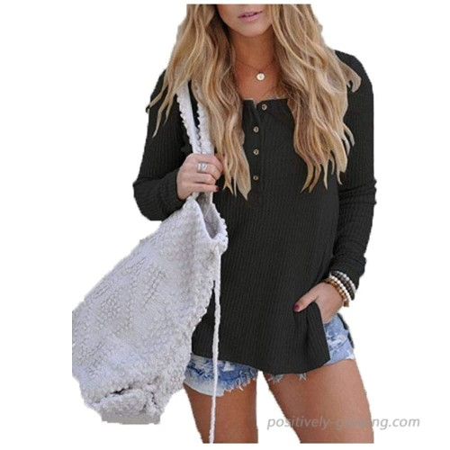 POGTMM Women's Waffle Knit Tops Loose Button Up Long Sleeve Henley Shirts Top at  Women's Clothing store