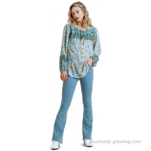 Umgee Women's Mixed Floral Border Print Top at  Women's Clothing store