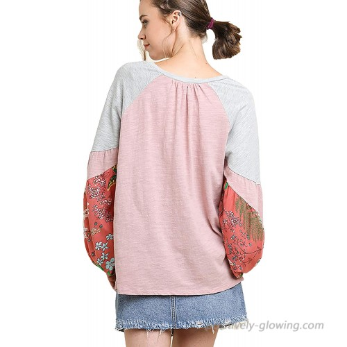 Umgee Women's Spring Cotton Top with Floral Print Puff Sleeves S Pink Mix at Women's Clothing store